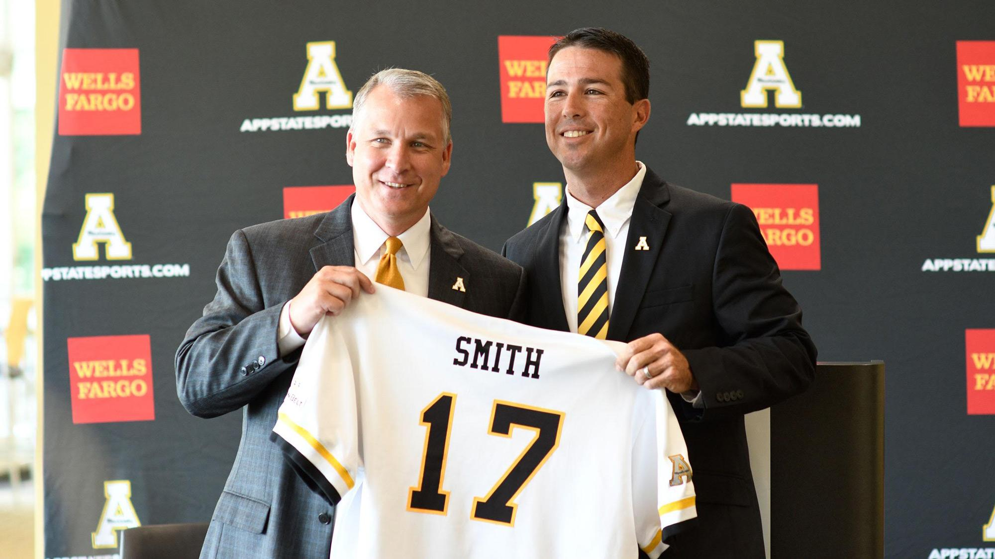 Smith introduced by athletic director Doug Gillin in a press conference on Monday.  Photo by Justin Perry/Appalachian State Athletics