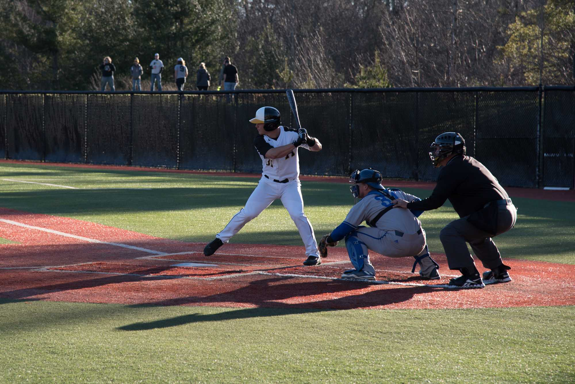 Freshman Caleb Grubbs up to bat during the game against UNC Asheville. The Mountaineers won with the final score being 4-3.