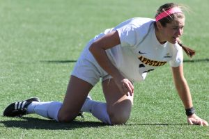 Senior forward Jane Cline scored the winning goal in double overtime that placed App State in the Sun Belt Tournament. This was Cline's second goal of the game.
