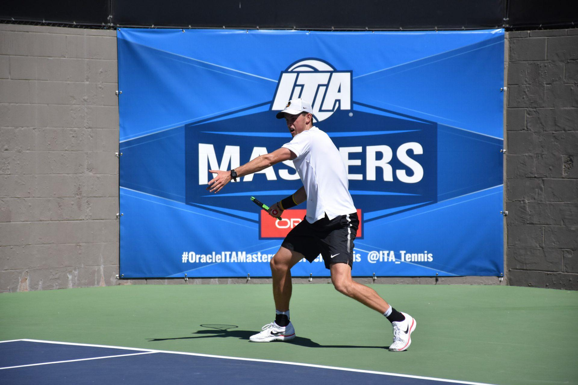 Senior+Scott+Webster+serving+the+ball+during+a+match+at+the+master%E2%80%99s+tournament+in+Malibu%2C+California.
