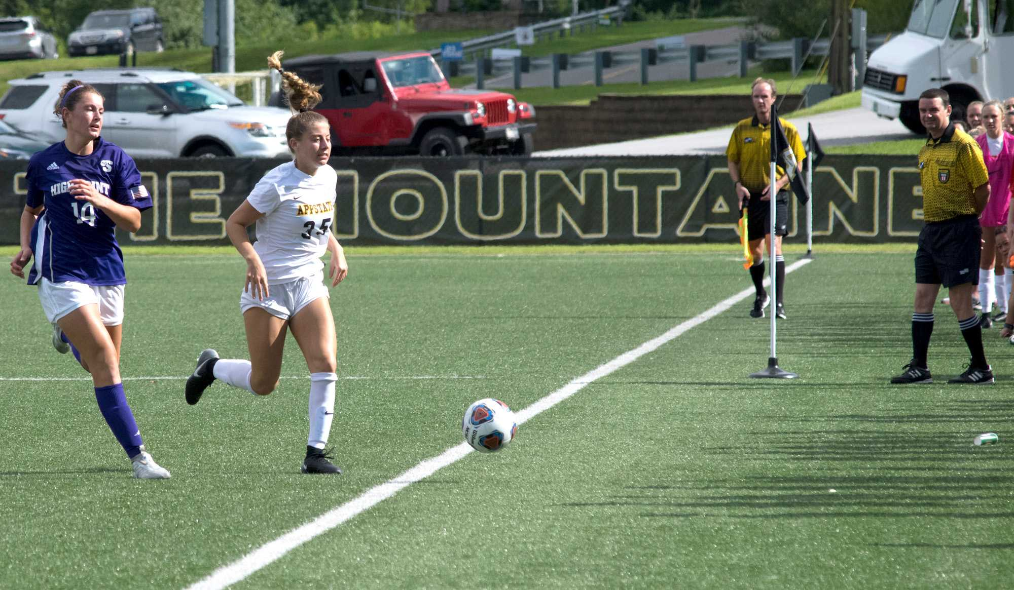 Freshman Abbey Rand follows the ball as it goes out of bounds during the game against High Point.