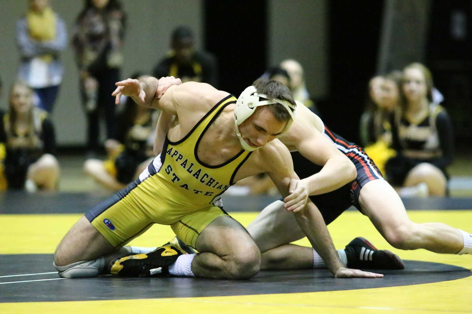 Vito Pasone wrestles in a match against SIUE on January 10. Photo courtesy Appalachian State Athletics.