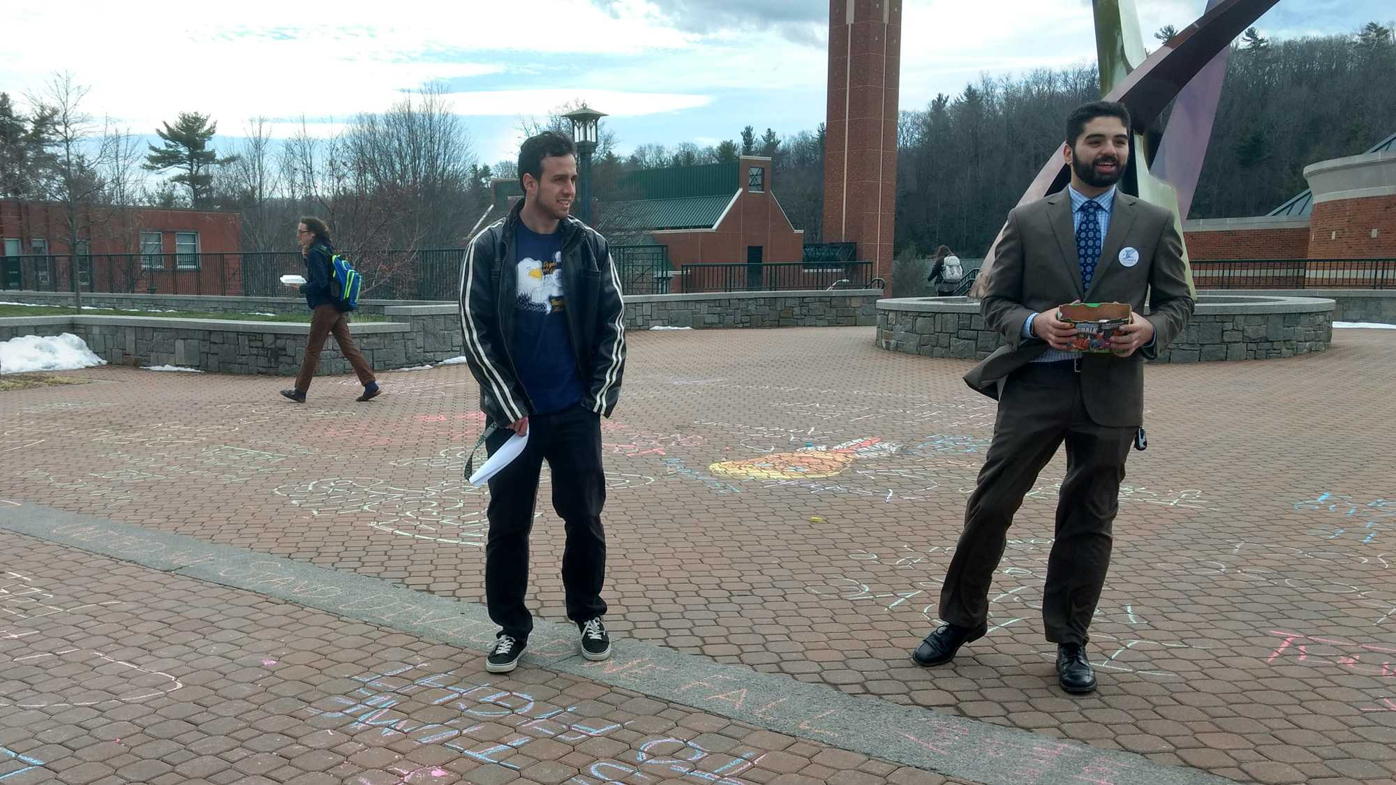 Free speech protest held against university's chalking policy