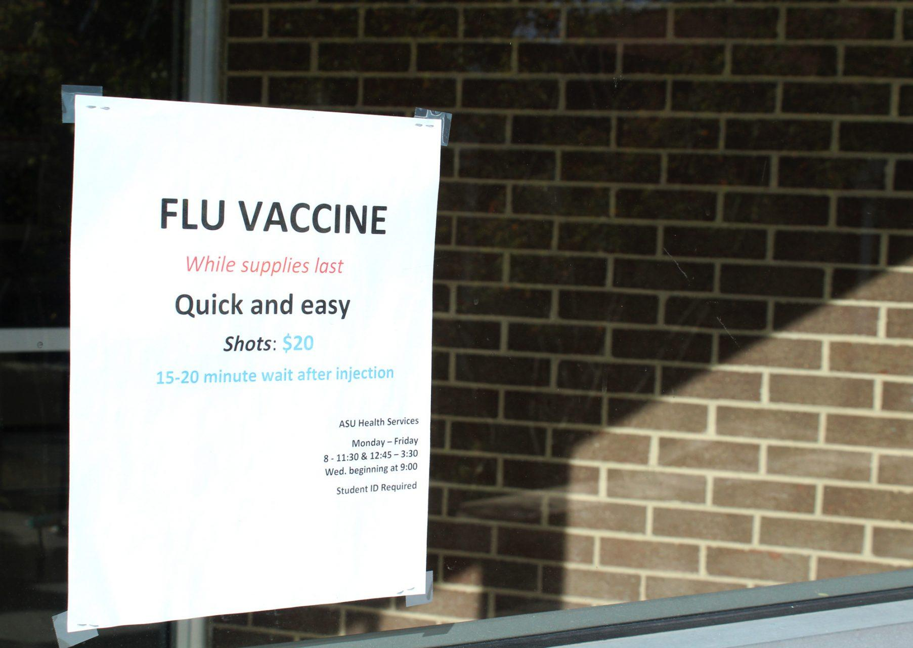 Flyer advertising flu shots available for students. The first case of the flu was reported at ASU's Health Services on September 17th.