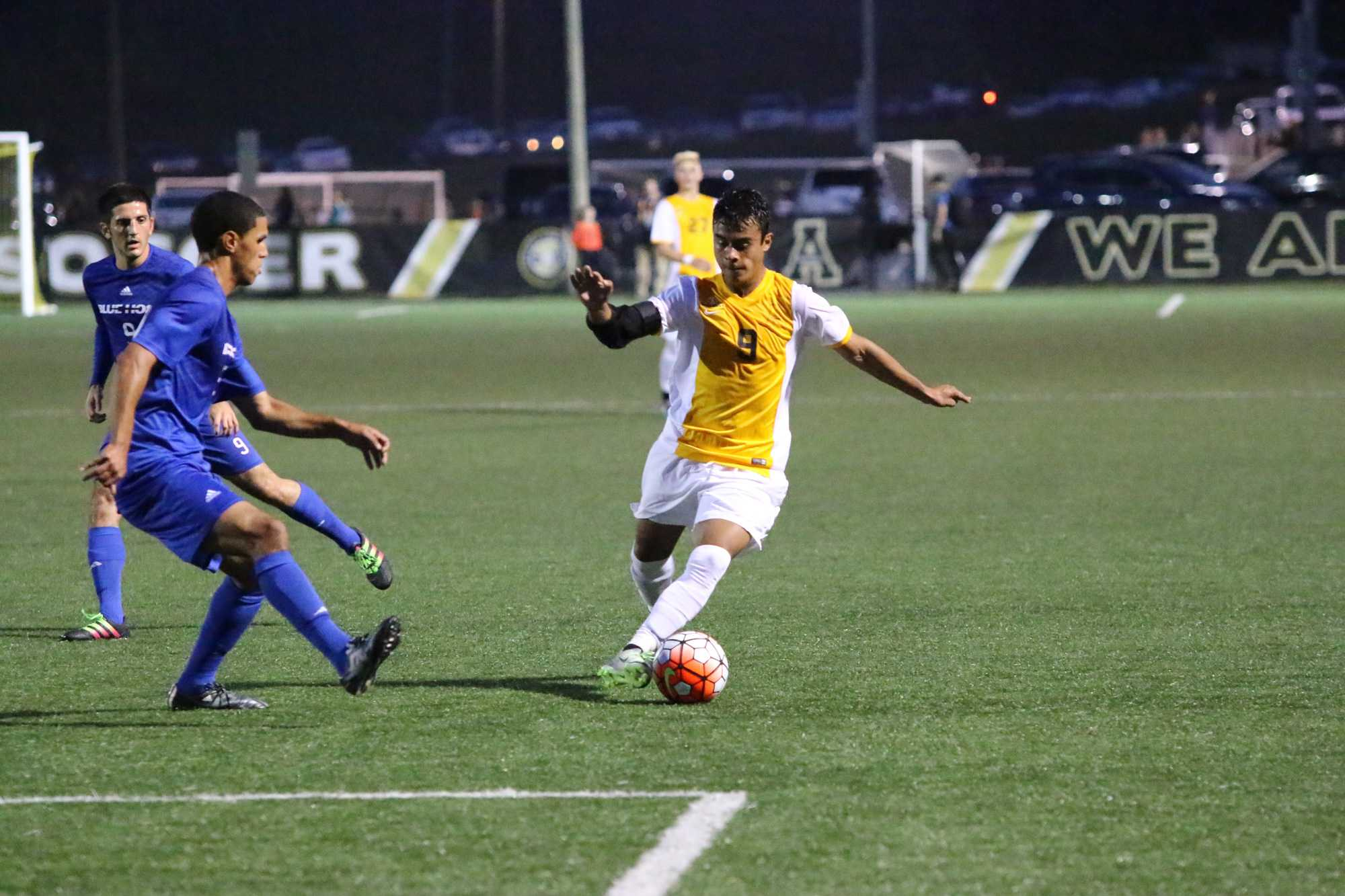 Forward Daniel Avila drives with the ball during App's game against Presbyterian on Tuesday. Courtesy of Appalachian State Athletics/Rob Moore