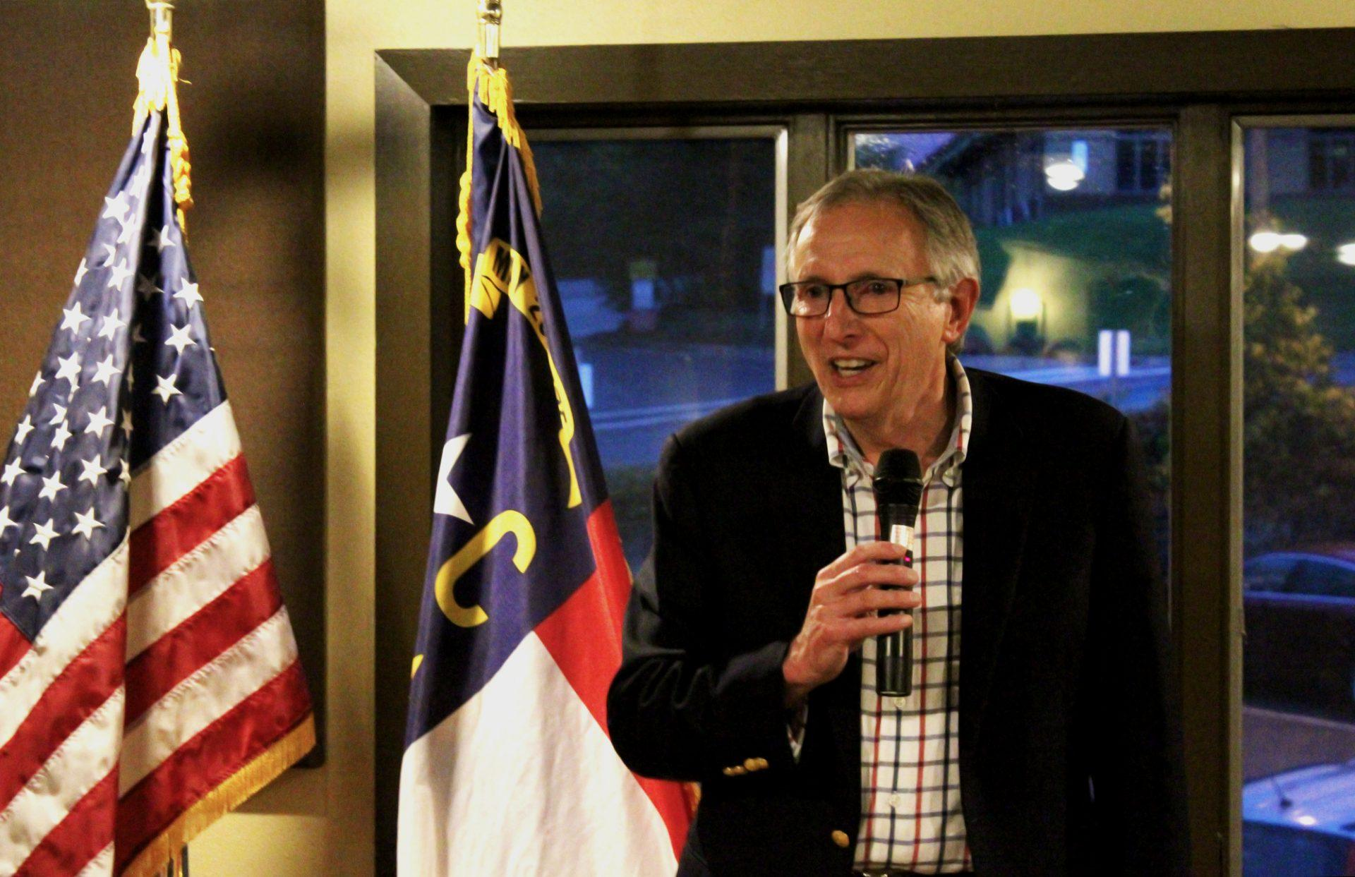 Ray+Russell+speaking+to+a+small+audience+of+supporters.+Russell+annouced+his+candidacy+for+the+93rd+district+of+the+NC+House+on+Tuesday+at+Lost+Province.