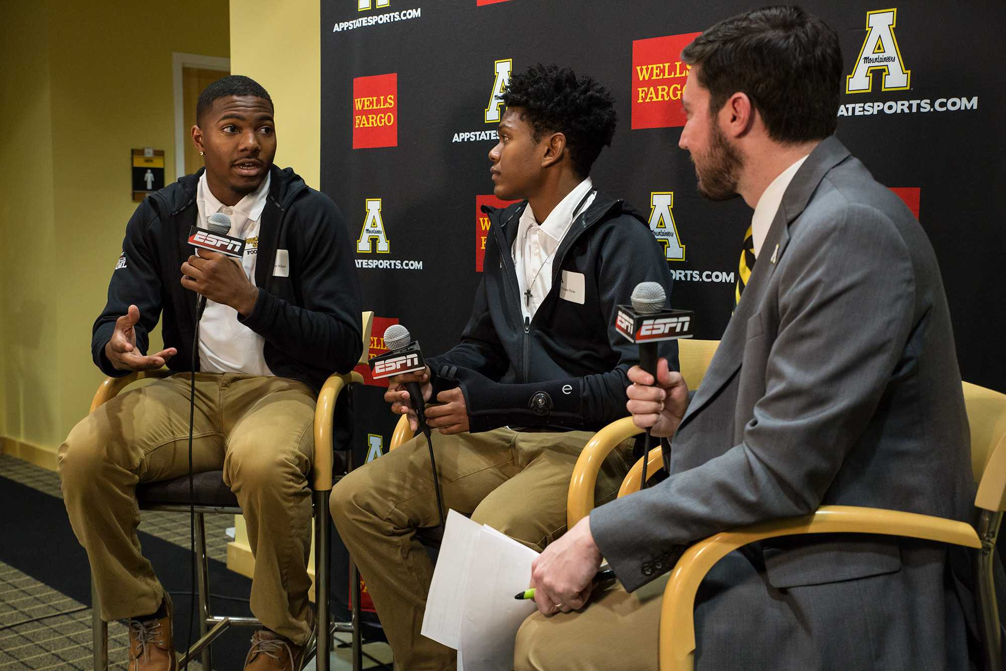 Football+recruit+Jermaine+McDaniel+discusses+with+App+State+play-by-play+announcer+Adam+Witten+why+he+commited+to+Appalachian+State.+