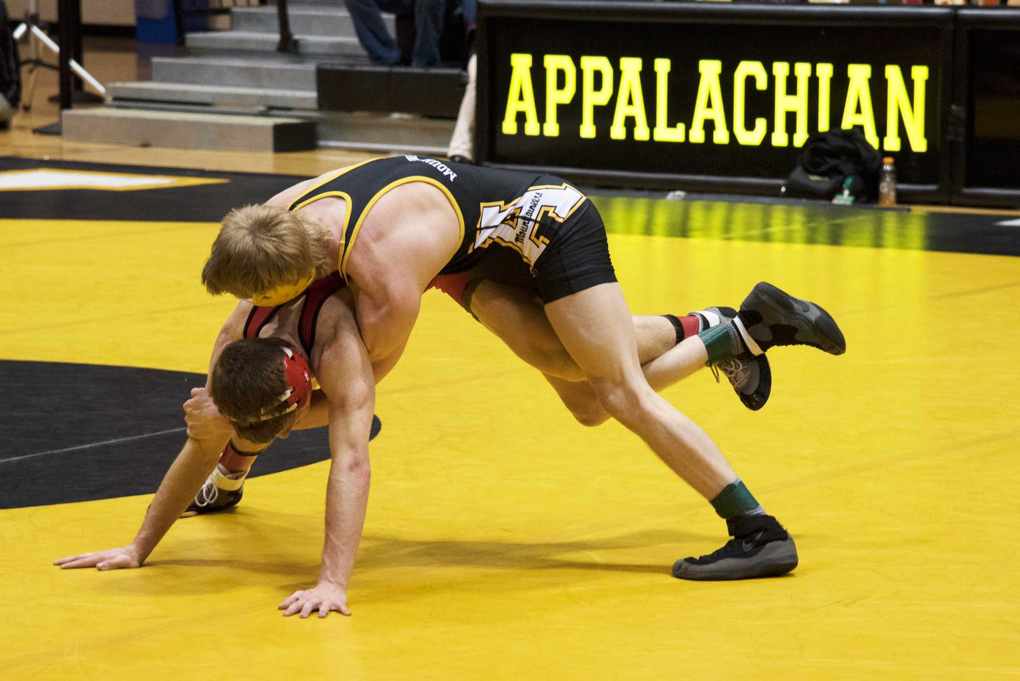 Freshman, Colby Smith during his match against Gardner-Webb opponent on January 24th. Photo Credit: Halle Keighton, Photo Editor