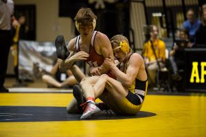 App State's Colby Smith attempts to gain control during his bout with Indiana's Garrett Pepple.