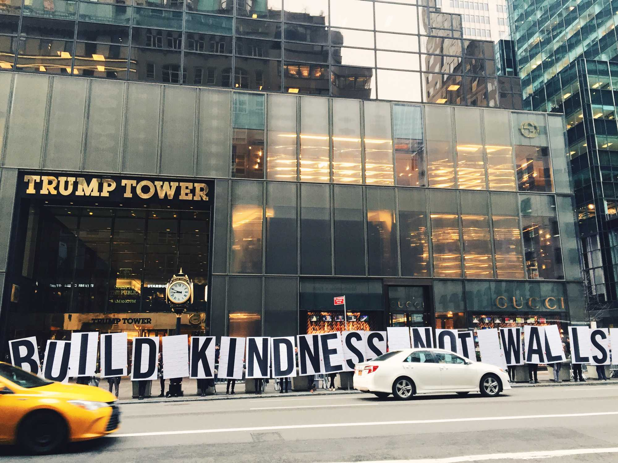 Appalachian+State+University+students+hold+up+letters+that+form+the+statement+%E2%80%9Cbuild+kindness+not+walls%2C%E2%80%9D+in+front+of+Trump+Tower+in+New+York+City.+Photo+courtesy+of+Rachel+Bowles.