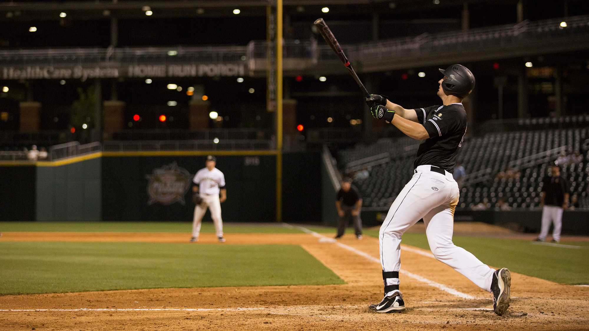 Senior infielder Grayson Atwood follows through his swing. Courtesy of Kelsey Sharkey; App State athletics