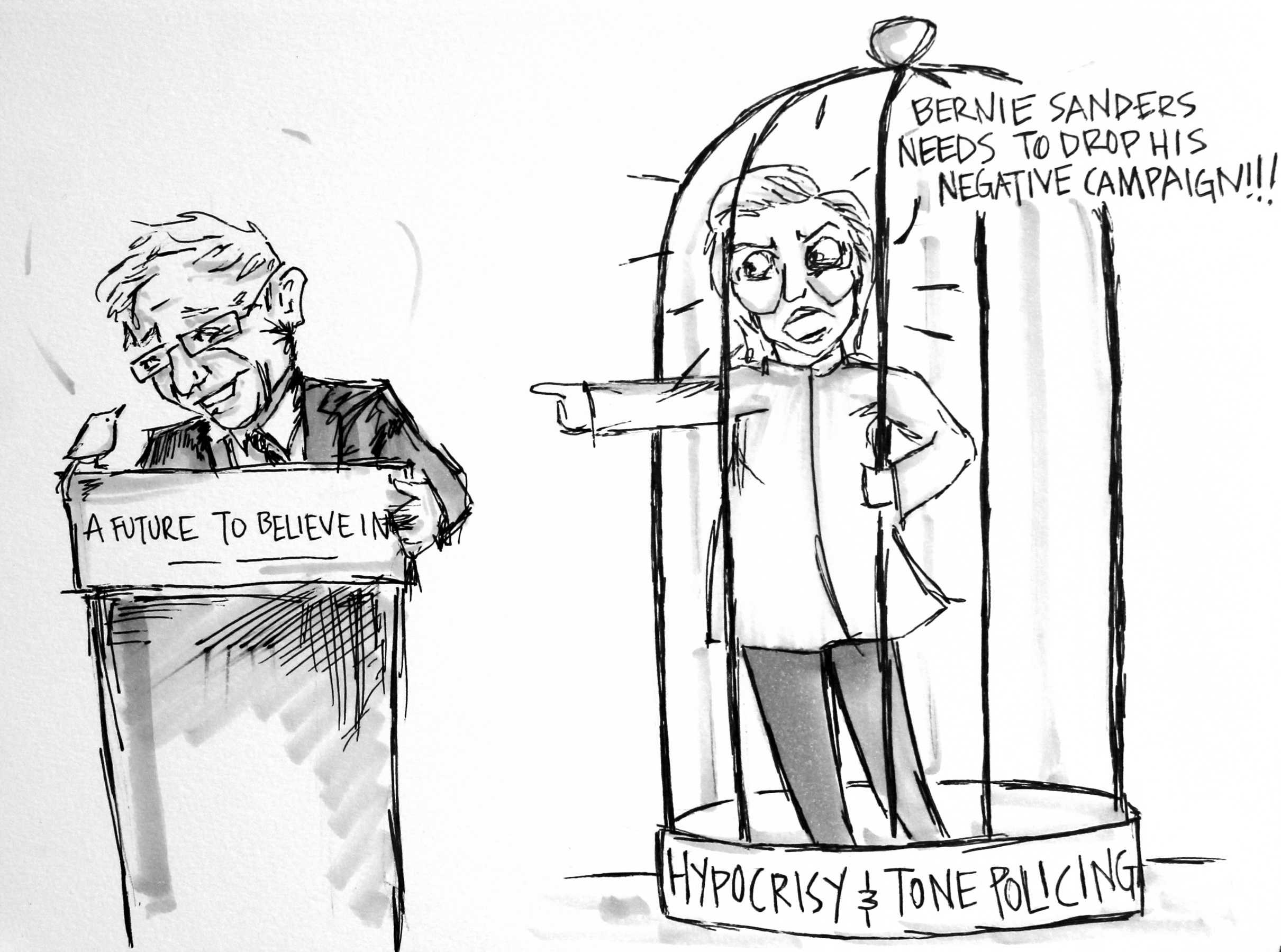 Cartoon: Bernie v Hillary