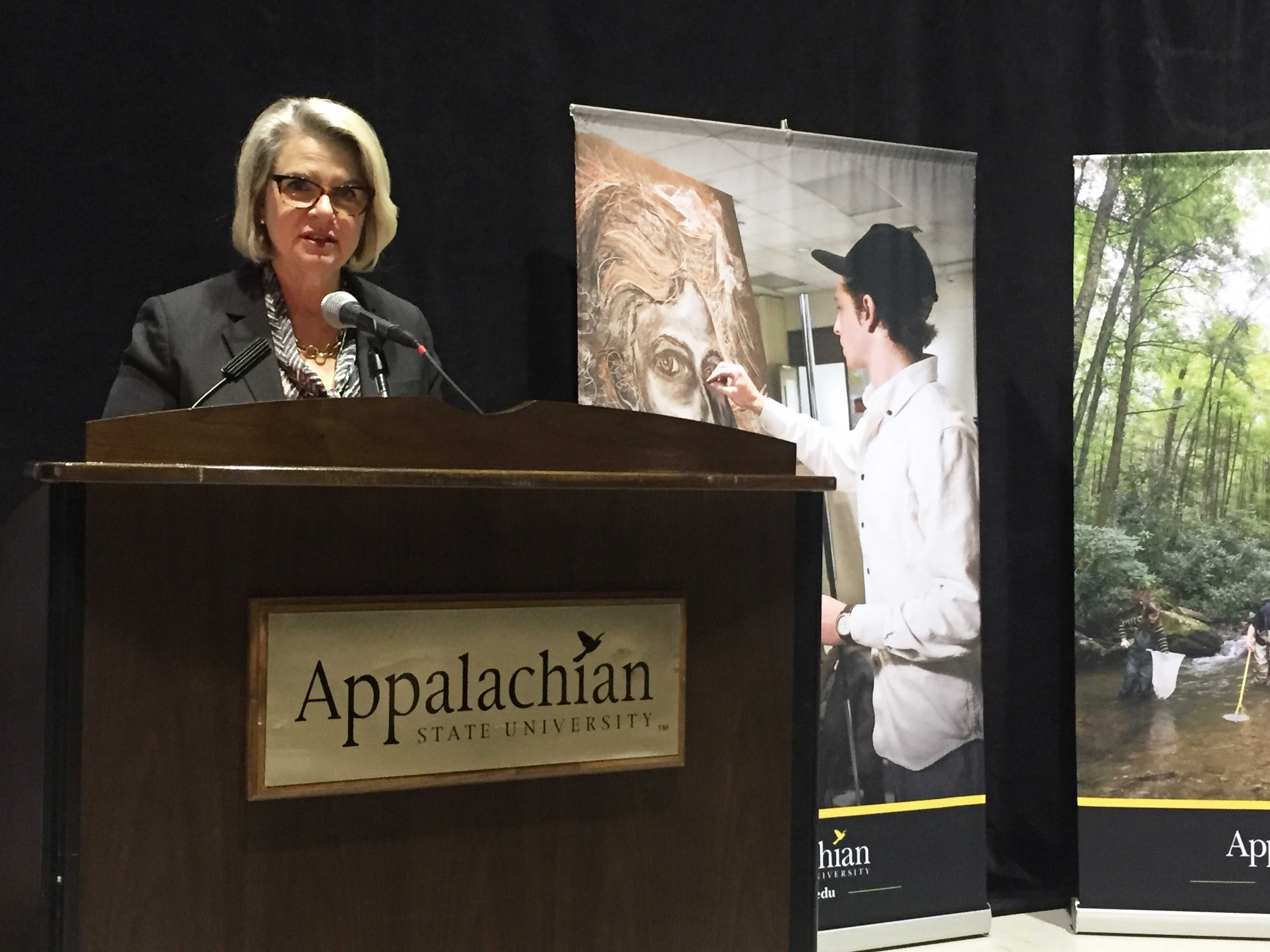 Margaret Spellings discusses Appalachian visit with the press