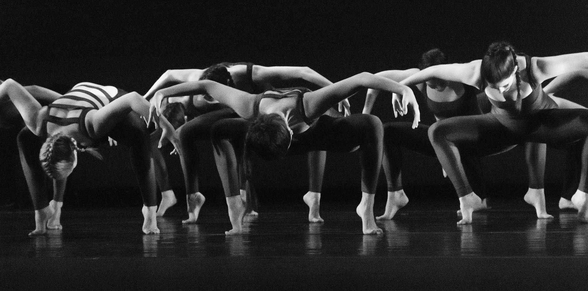 """Dancers perform senior lecturer and choreographer Regina Gulick's piece titled """"Elegy."""" Photo by Dallas Linger."""