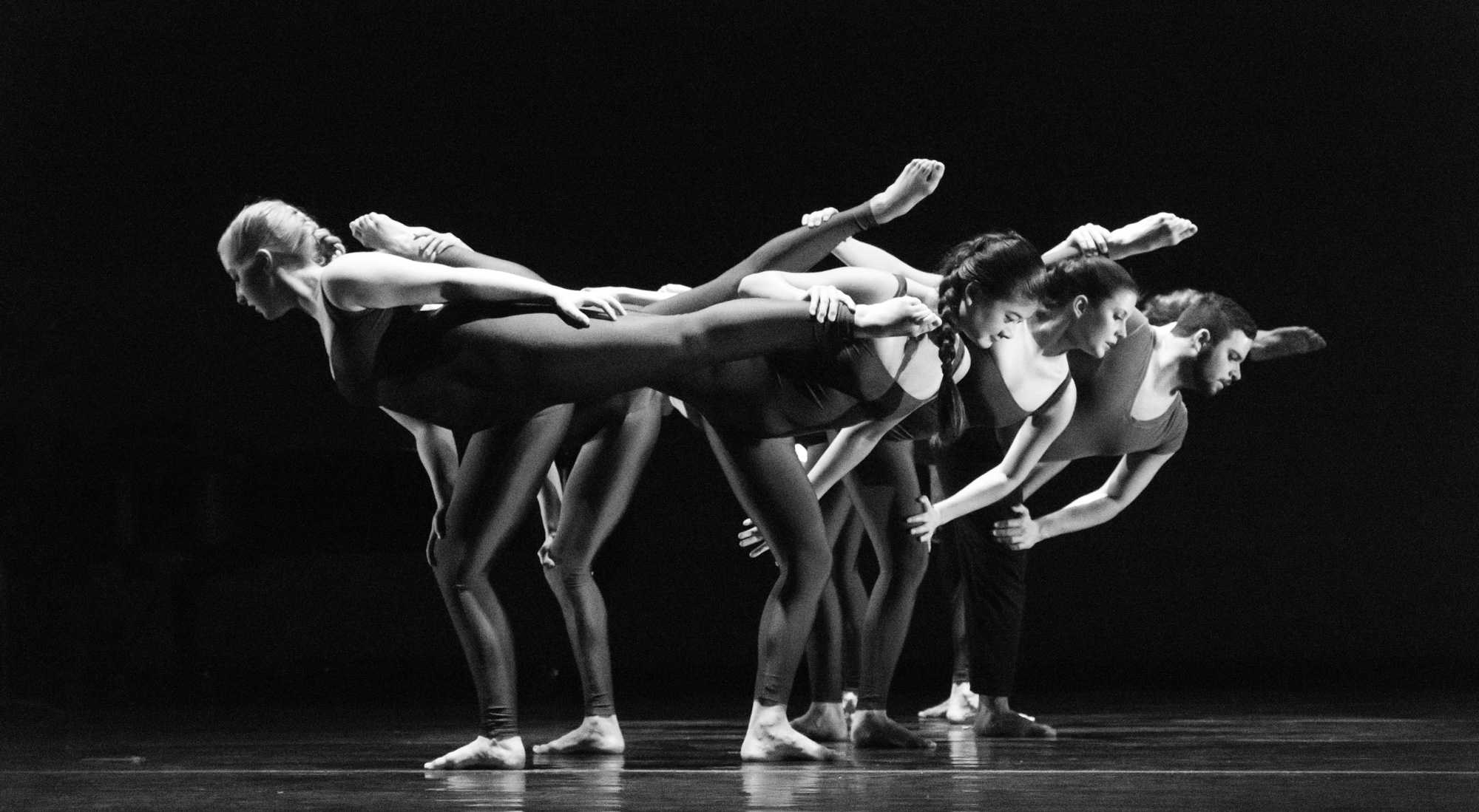 Dancers in an original piece titled Elegy by choreographer Regina Gulick, senior lecturer in the Department of Theatre and Dance. Photo by Dallas Linger.