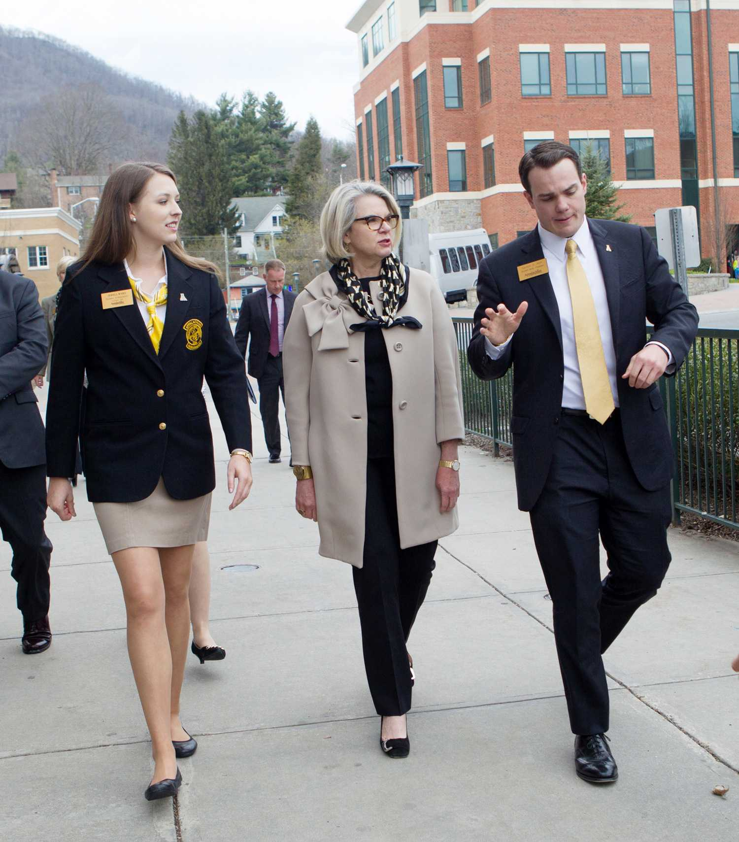 University of North Carolina System President Margaret Spellings talks with Appalachian Student Ambassadors President Jewell Ward and Student Government Association President Carson Rich. Photo courtesy of App State press release.