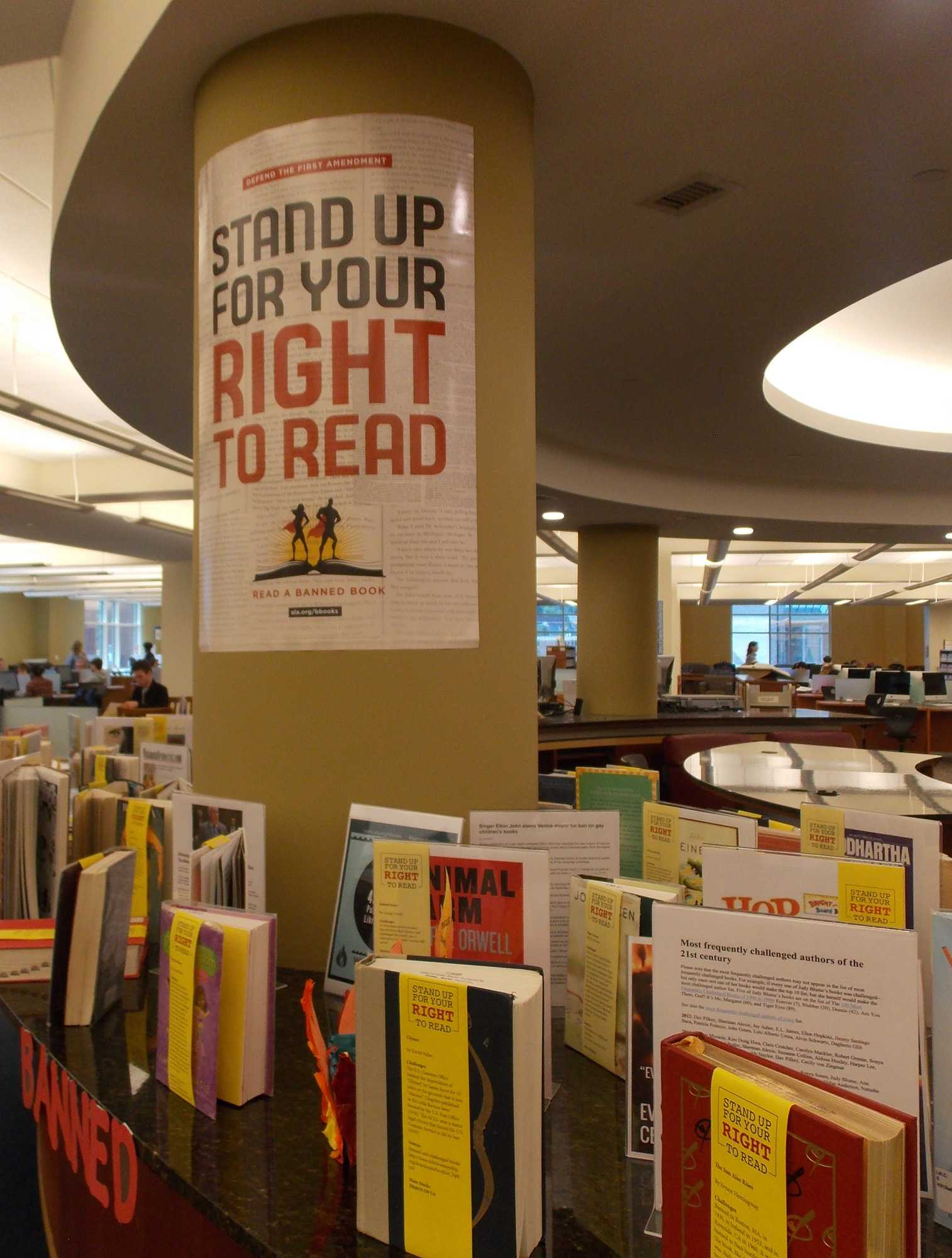 The Banned Books Week display in Belk Library.