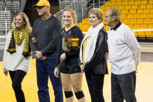Senior librero, Olivia Reed, stands with her family after recieving flowers before the game against South Alabama on Friday evening. It was senior night for the girls and the game resutled in a loss for Appalachian State with the score being 2-3.