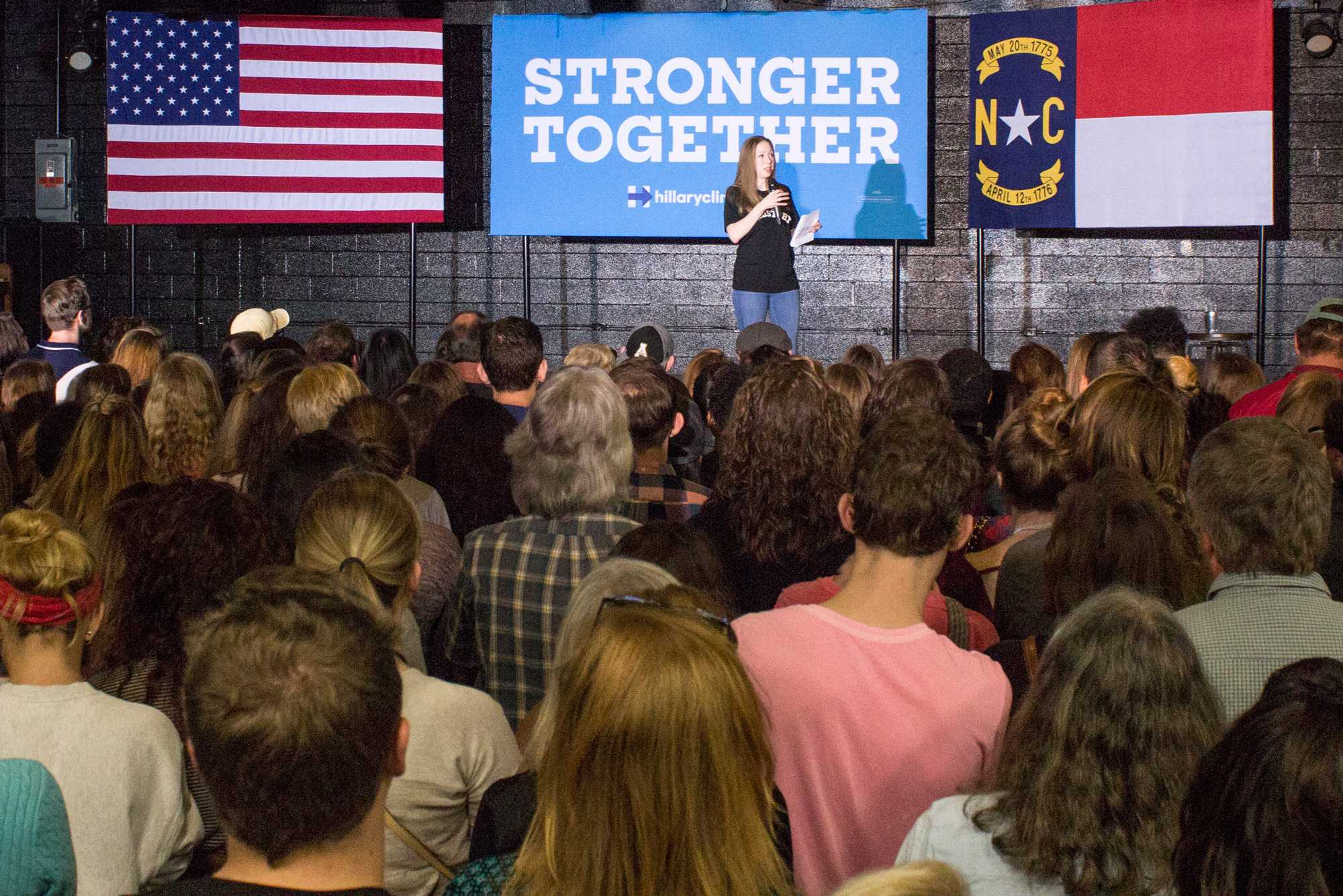 The daughter of Hillary Clinton, Chelsea Clinton, talks about her mom's campaign and answers audience questions. Mrs. Clinton came to Legends on Thursday, October 27th in order to persuade people to go out and vote early. 550 people in total came out to the rally.