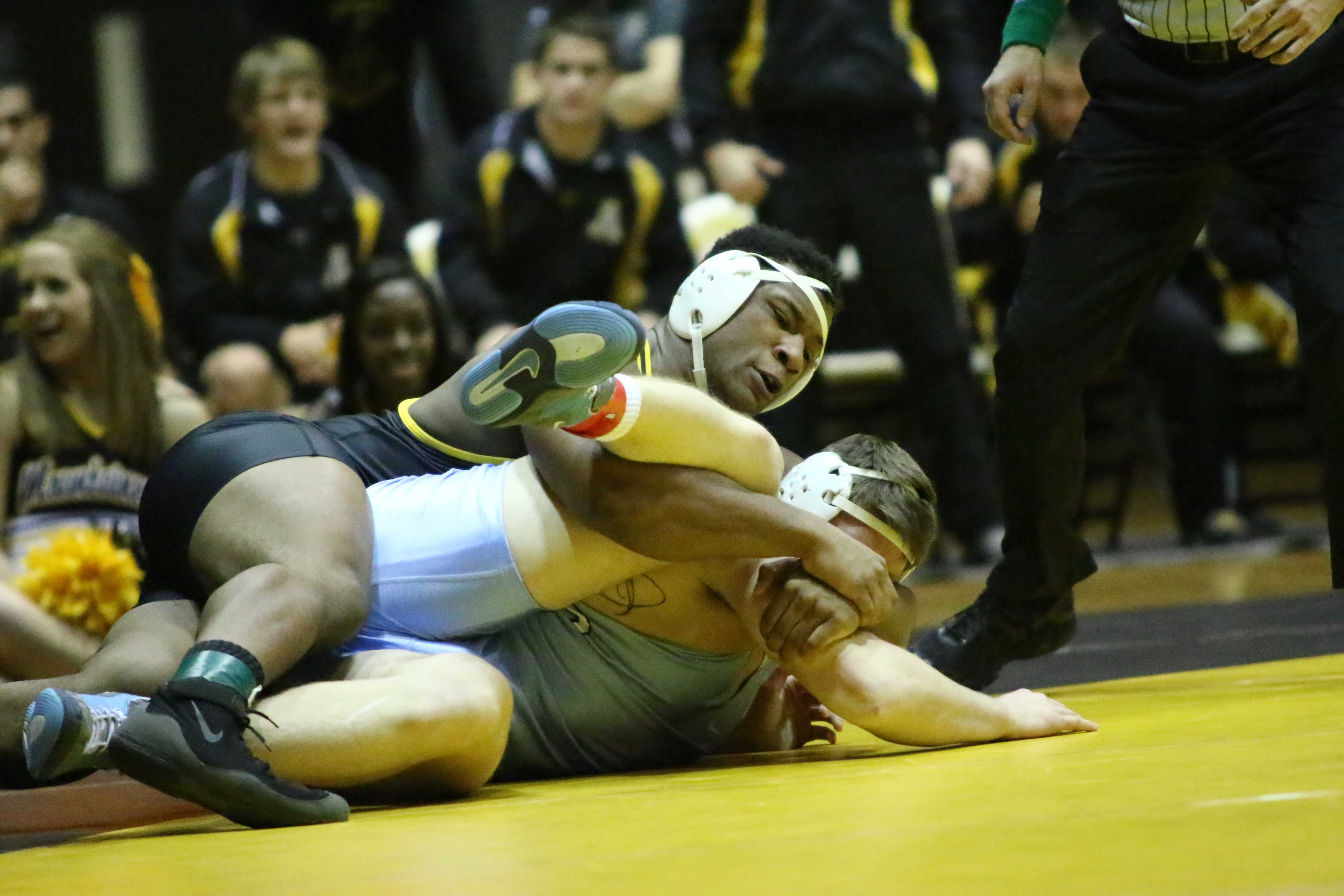 Denzel Dejournette won the final match to help the Mountaineers defeat the Tarheels Photo courtesy: App State Athletics/ Rob Moore
