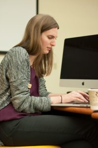 """Librarian, Hannah Popem, writing a fantasy novel titled """"Modern Retelling of a Folktale"""". She had the idea to put NaNoWriMo together here at App where participants write a 50,000 word story by November 30th."""