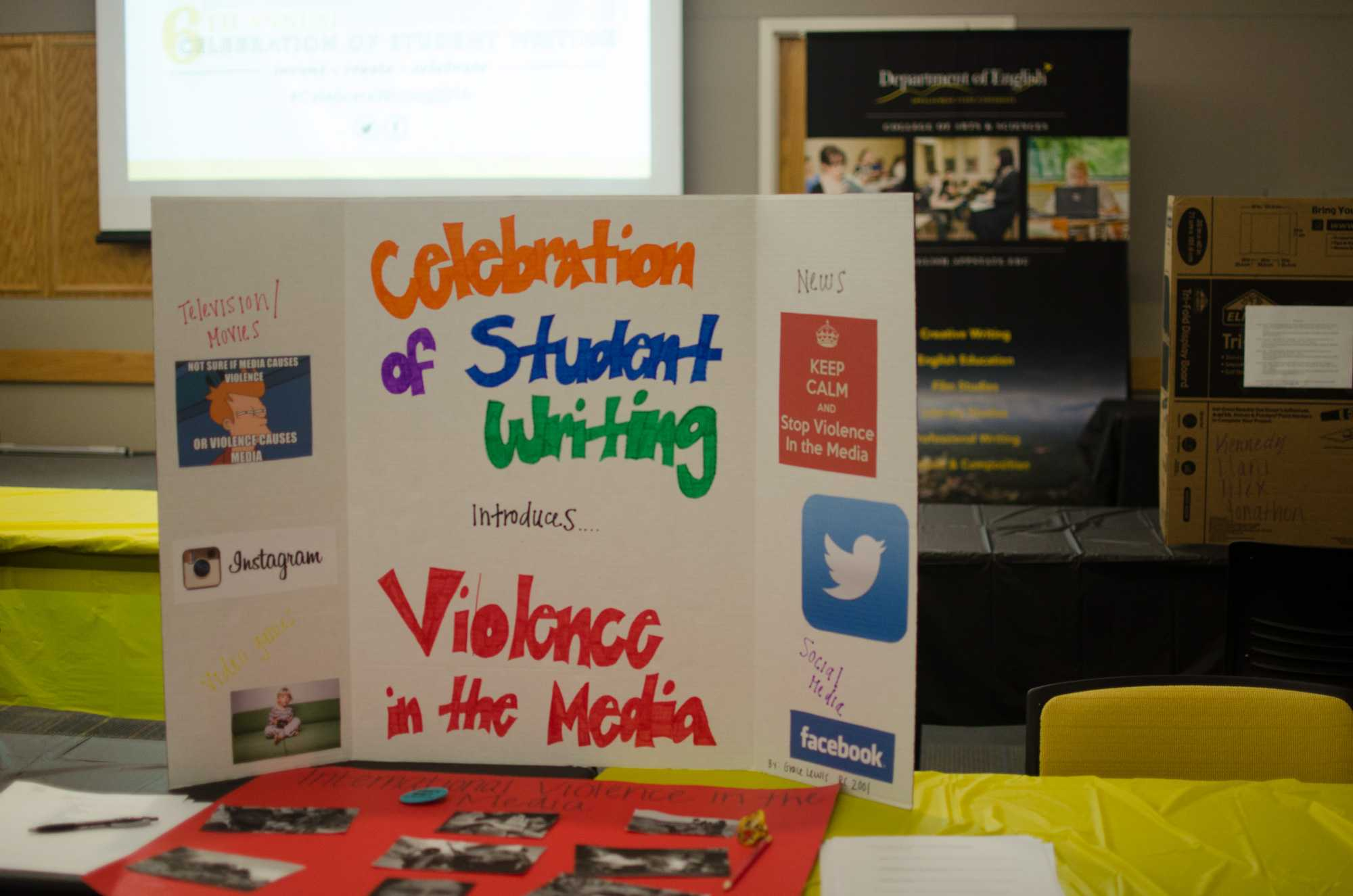The Celebration of Student Writng event was on November 17th. It showcased a variety of projects written by students who have been working on their topics all semester long.