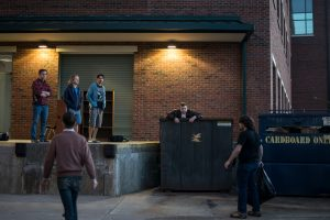 """Students on the set of """"Decomposed"""", directed by Berry Jone, during the 45 minute film challenge."""