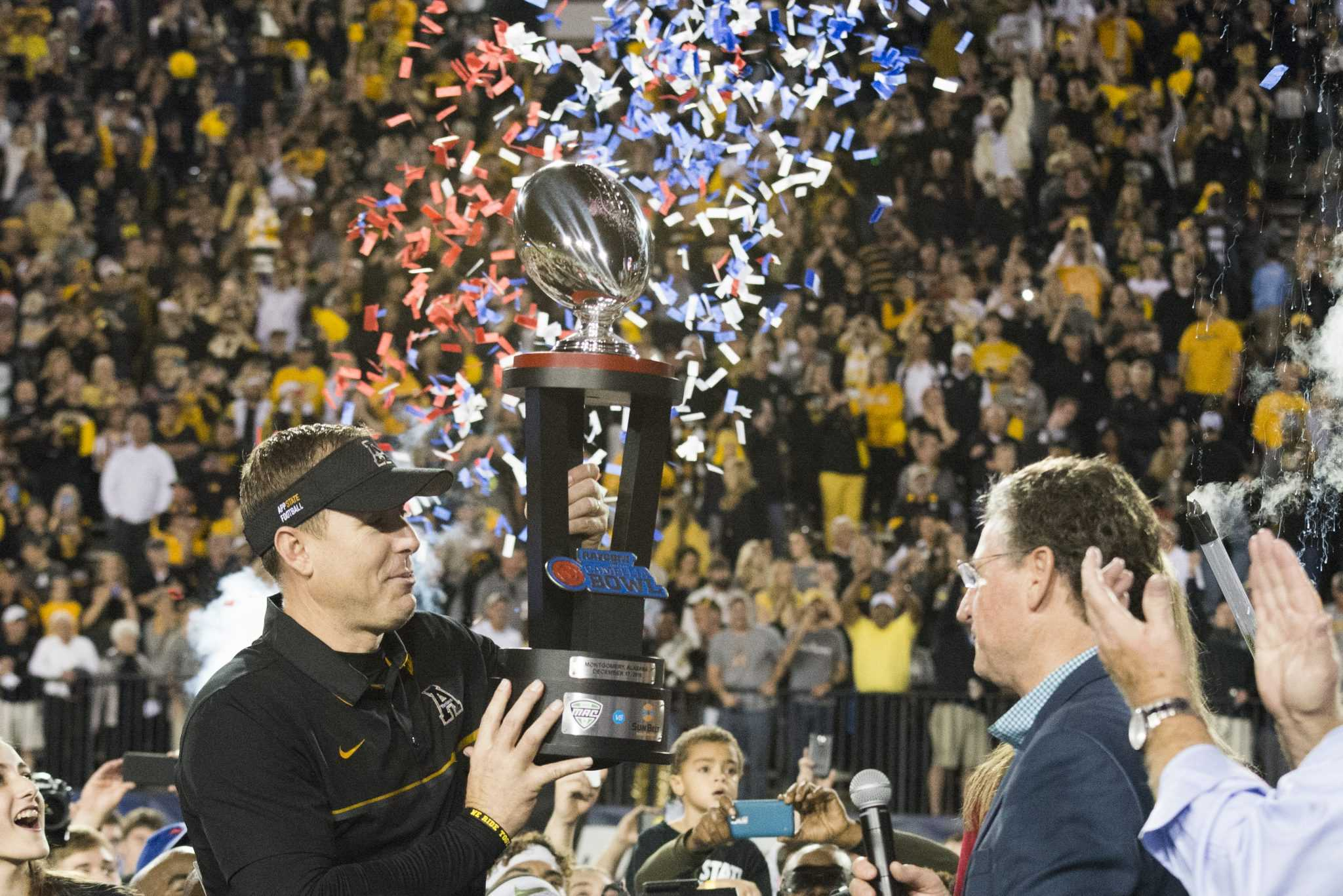 App State celebrates after winning their second straight Camellia Bowl game. Photo by: Halle Keighton