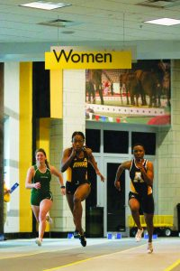 Darlene Girardeau racing in the 55m womens preliminaries.