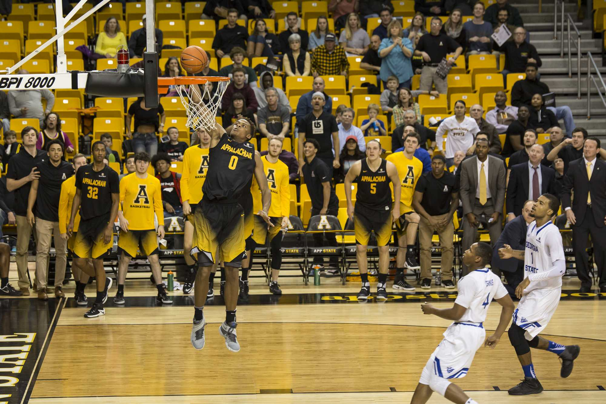 App State's Isaac Johnson extends the Mountaineer's lead with a dunk off of a Georgia State turnover.