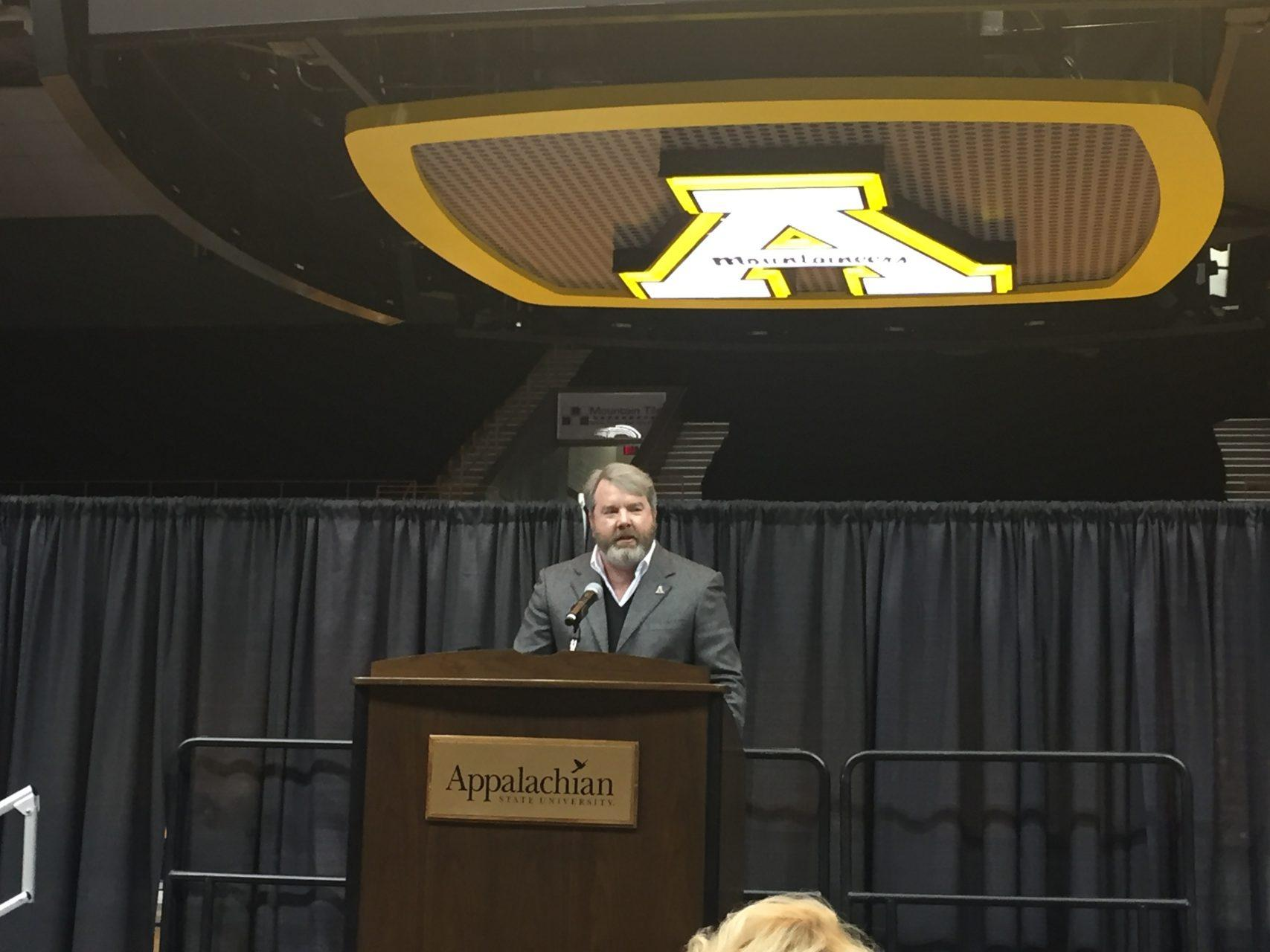Mark Ricks, App State class of 1989, spoke in front of student-athletes, fans, App State faculty and coaches at a ceremony in Holmes Convocation Center on Thursday, November 9, 2017. He was appointed to the App State board of trustees on July 27, 2018.