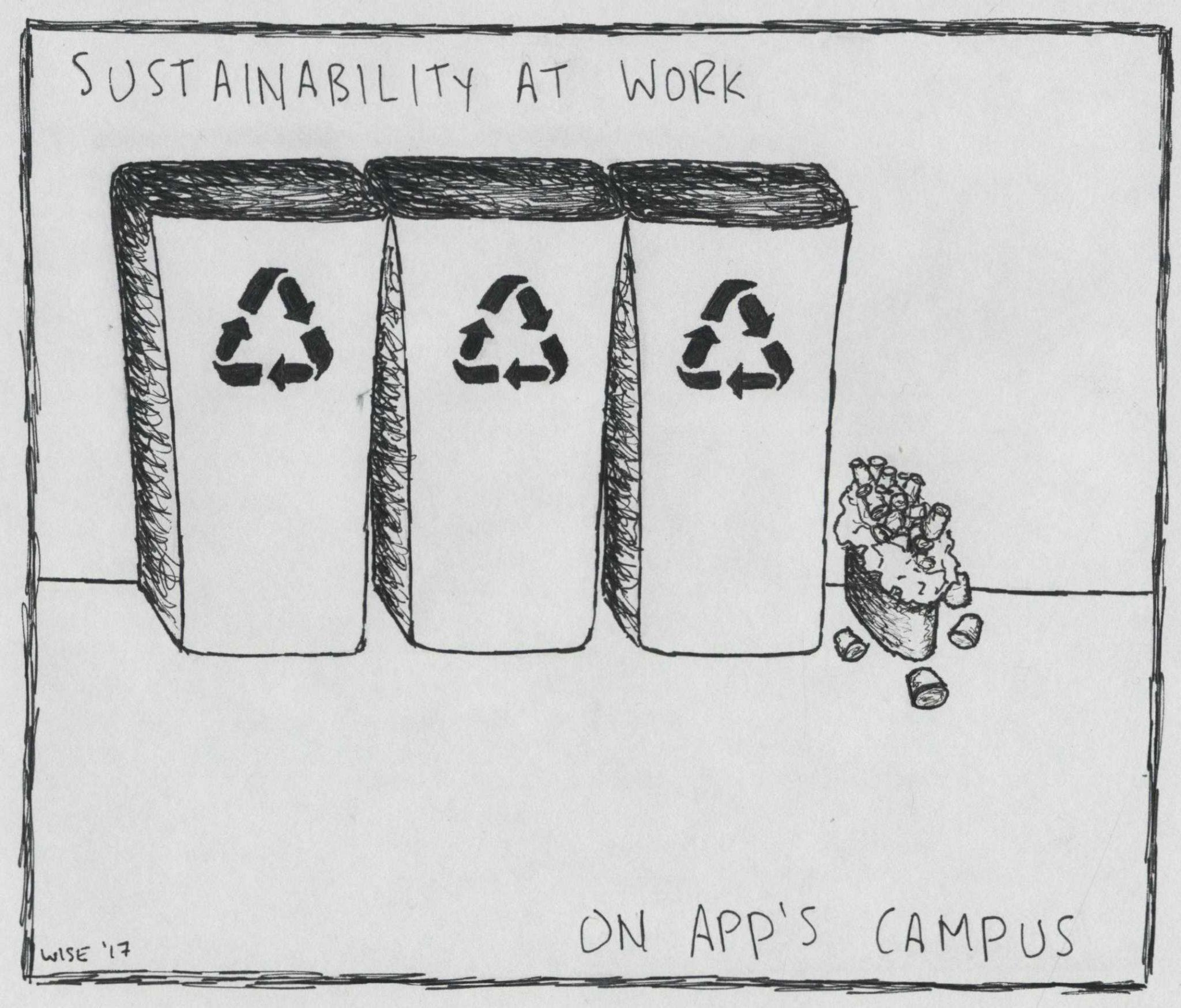 App state's sustainability message deterred by paper cups