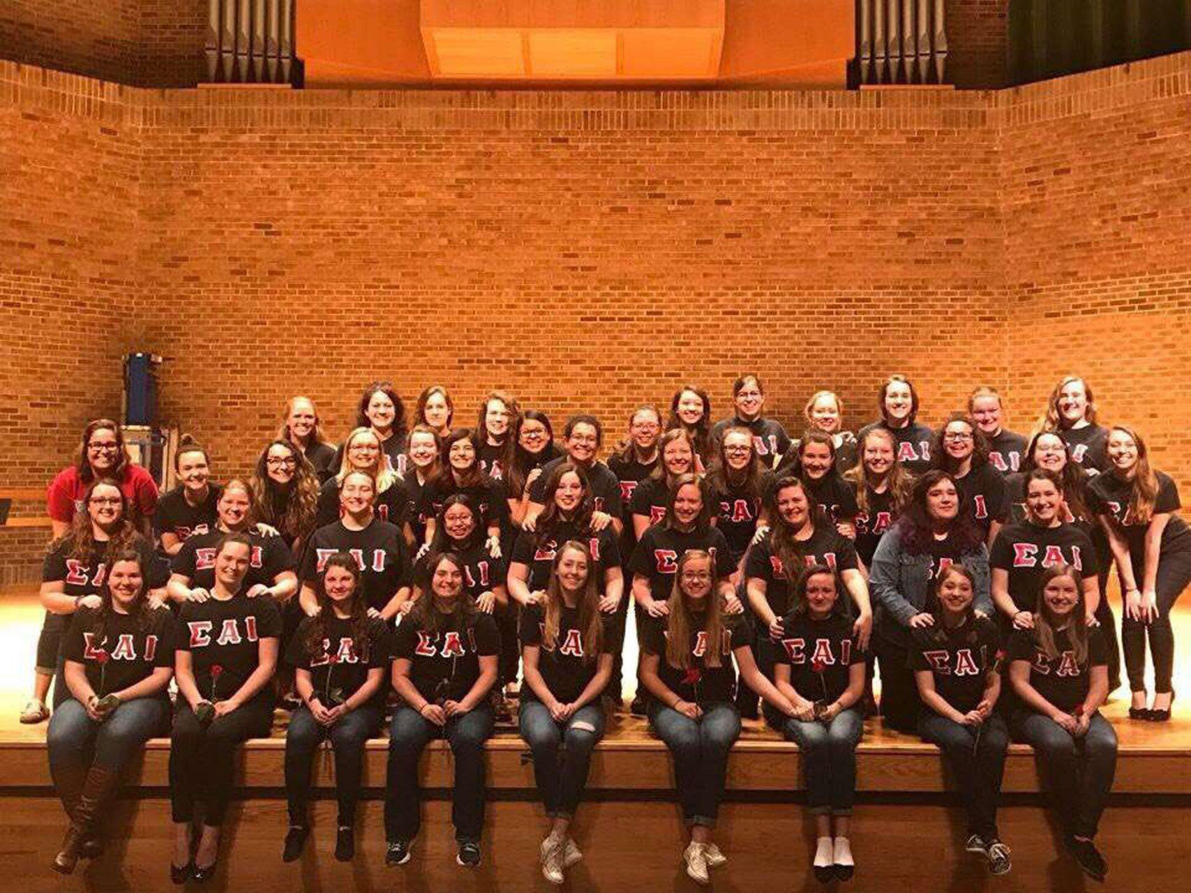 Sigma Alpha Iota (SAI) is the all-female music fraternity on campus that organizes receptions for faculty and students as well as breakfasts for staff at the Hayes School of Music.