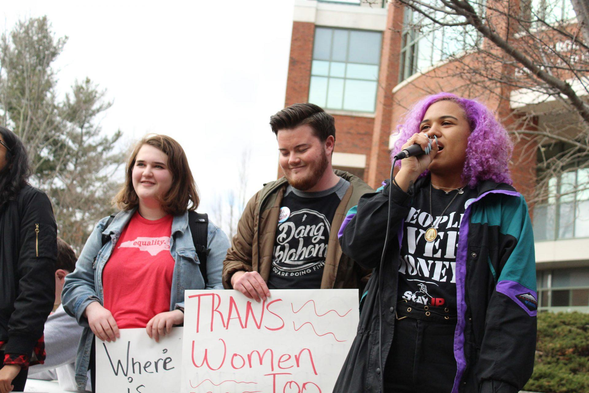 Avery Walters and other students meeting outside between the student union and the library to protest Speaker Michael Brown on Tuesday at 2pm.