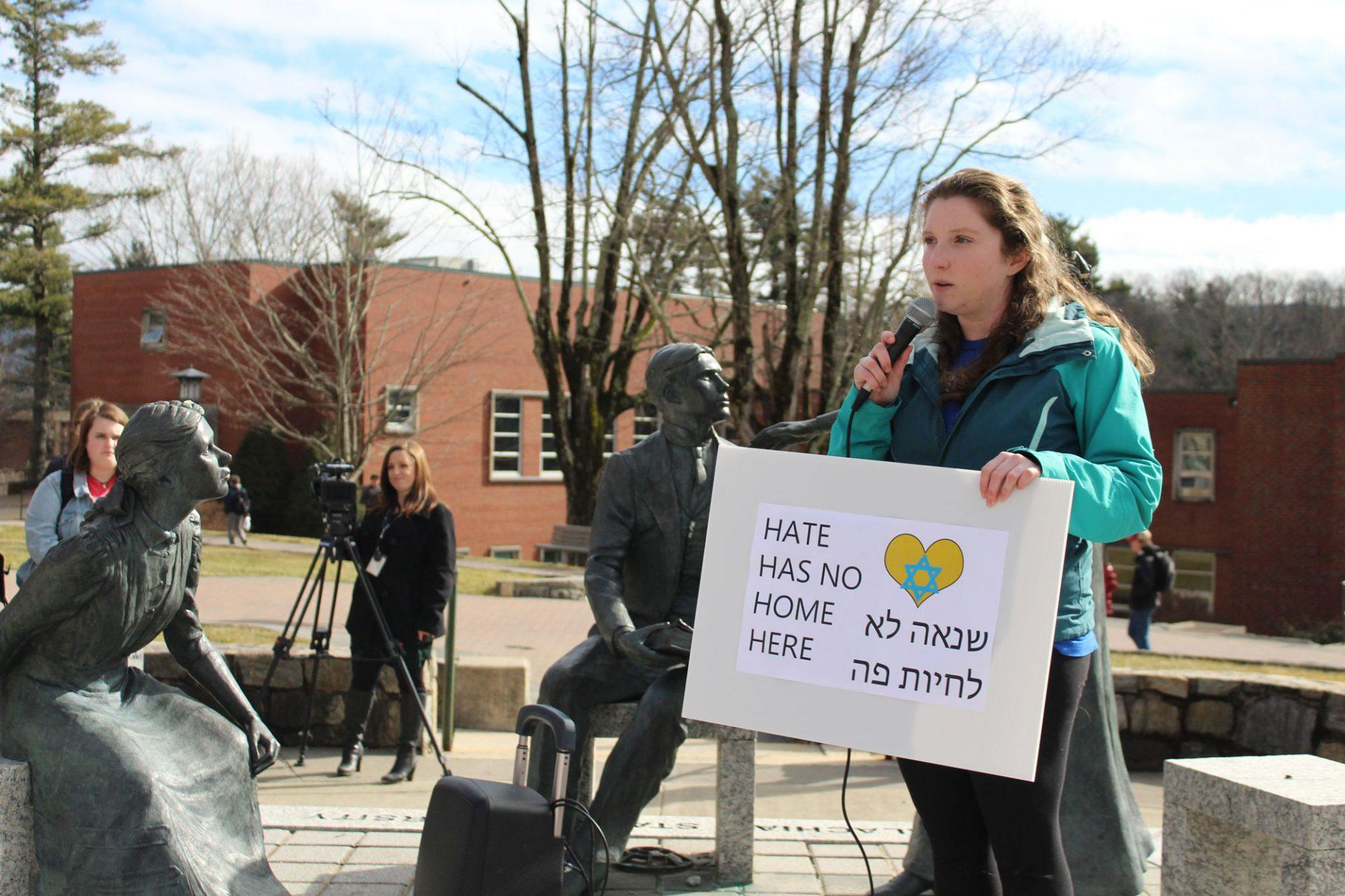 Senior Maddie Lippy speaking in front of the protestors on Sanford. Students and the community members protested against Speaker Michael Brown on Tuesday afternoon.