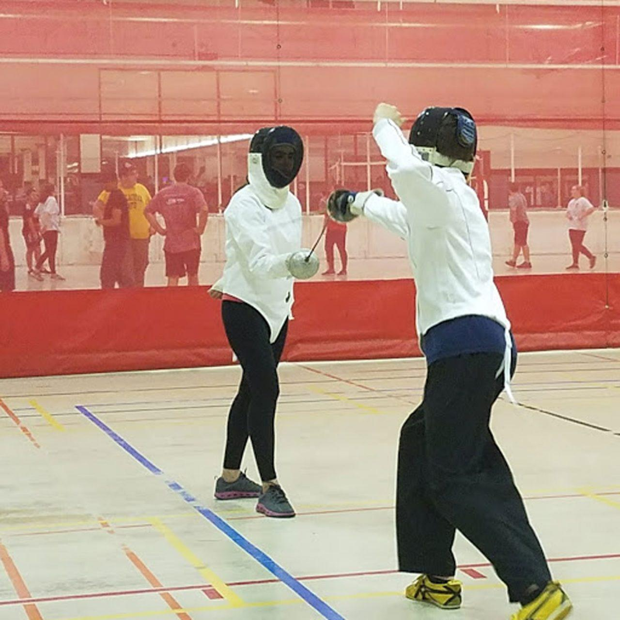 Fencers pair up together according to the weapon of their choice. The fencing club at App State meets every Tuesday and Thursday in Quinn.