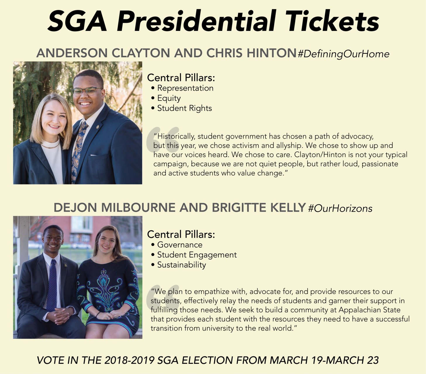 Student Government Association 2018-19 Presidential Tickets