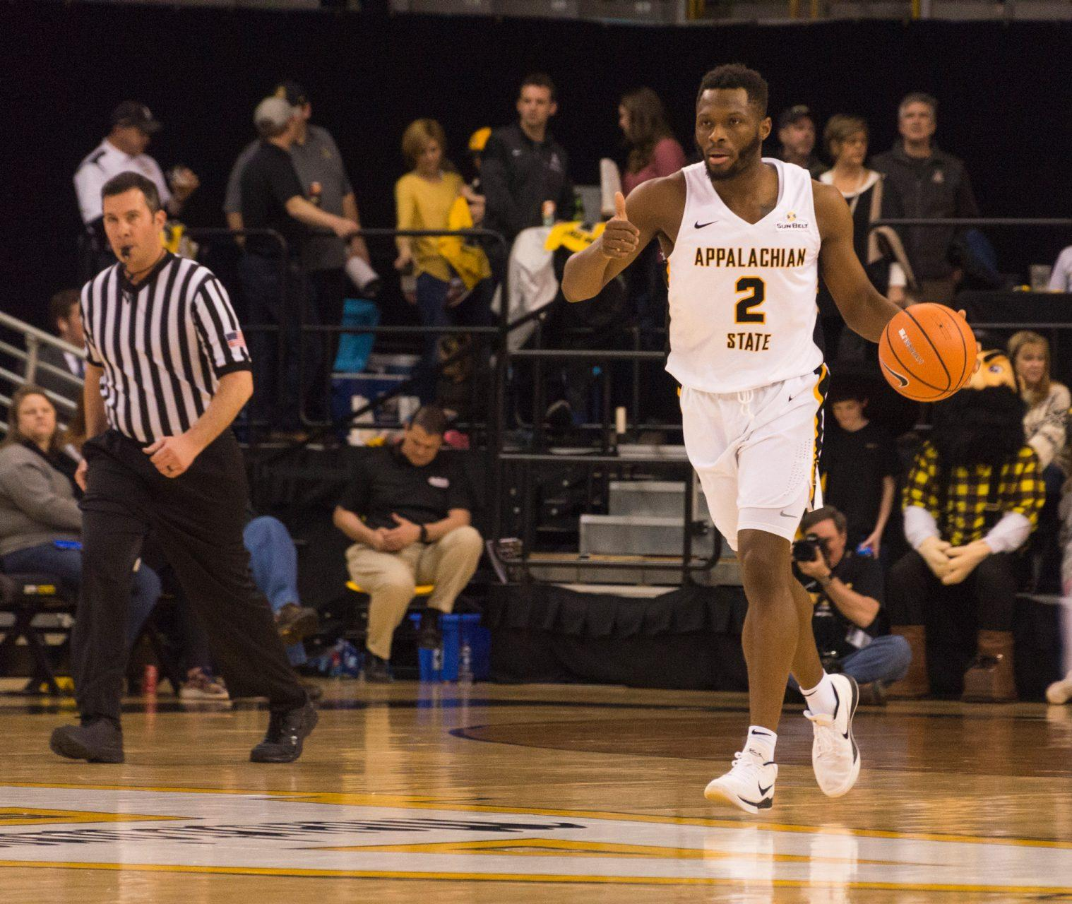 NBA draft hopeful Ronshad Shabazz brings the ball up the floor during a Mountaineer home game. Shabazz finished his career ranked first in App State history with 712 field goals made and second in points with 2,067.