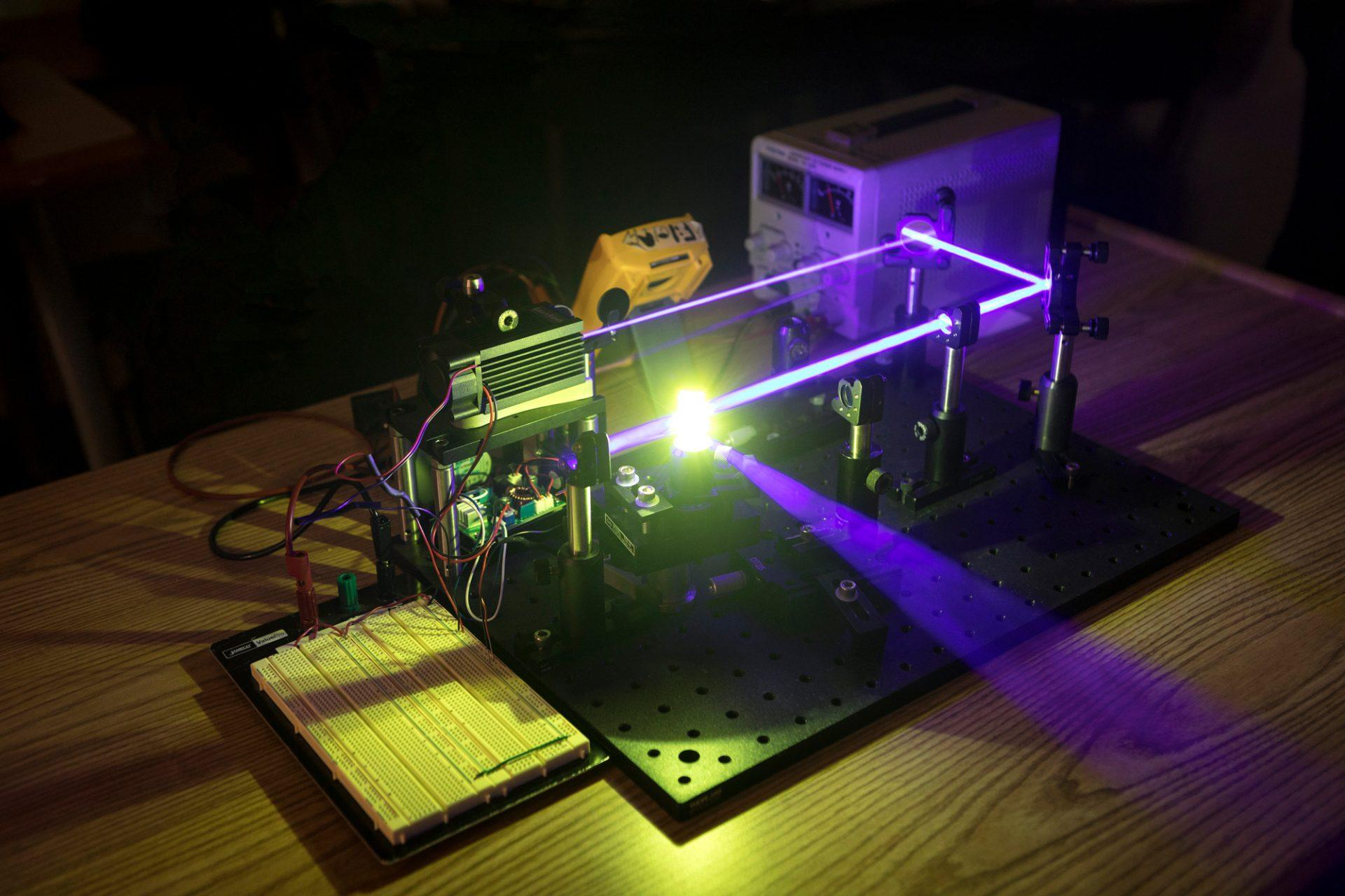 The prototype for the edible laser project, developed by App State professor Lauren Woods and undergraduate physics students Jack Griffin and Jose Salazar.
