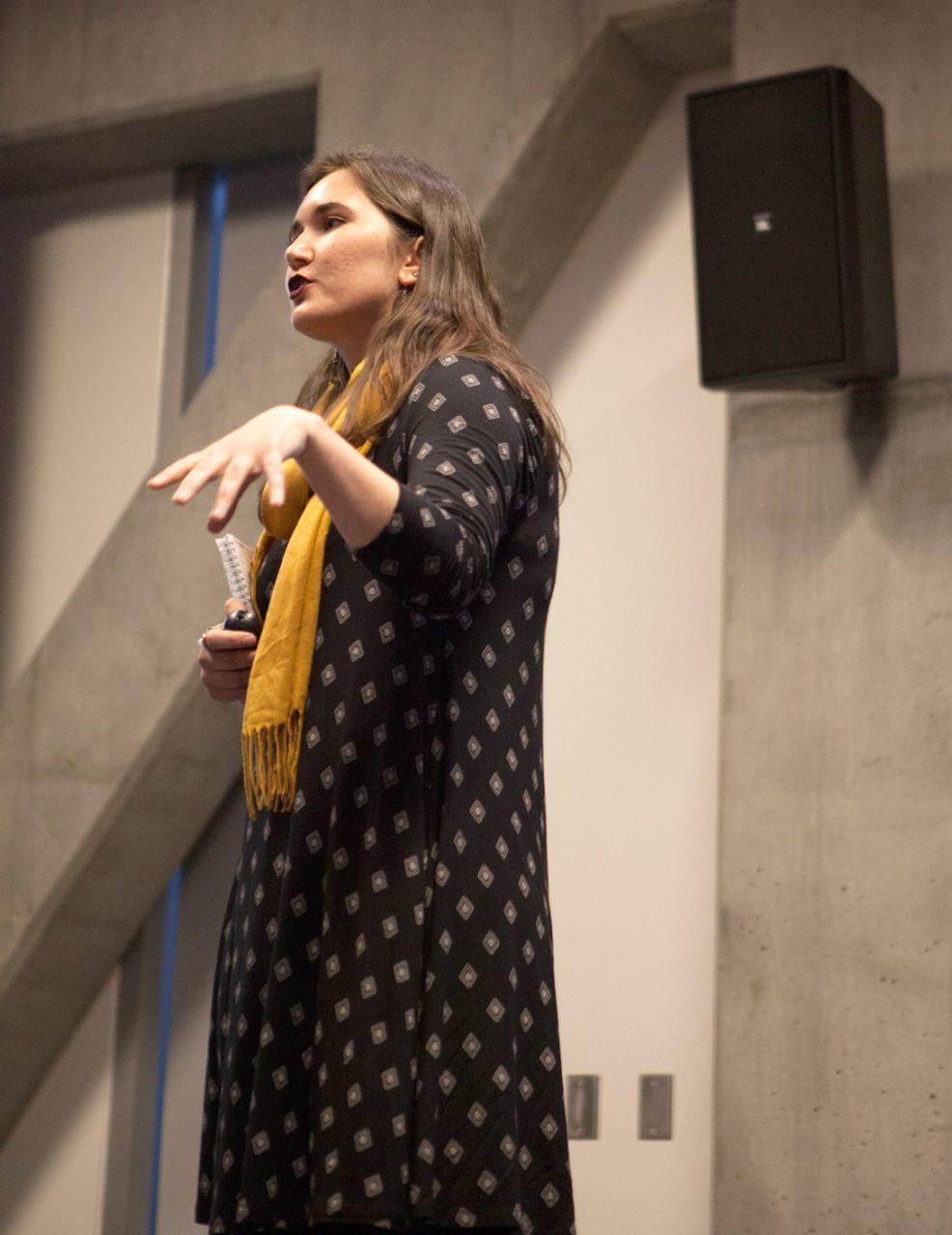 Mikaela Thomas presenting