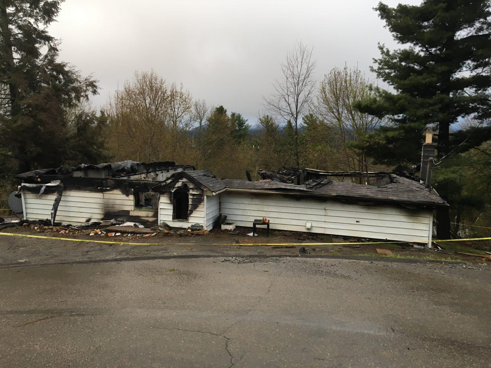 All that remains of 619 Junaluska Road as seen from the road.