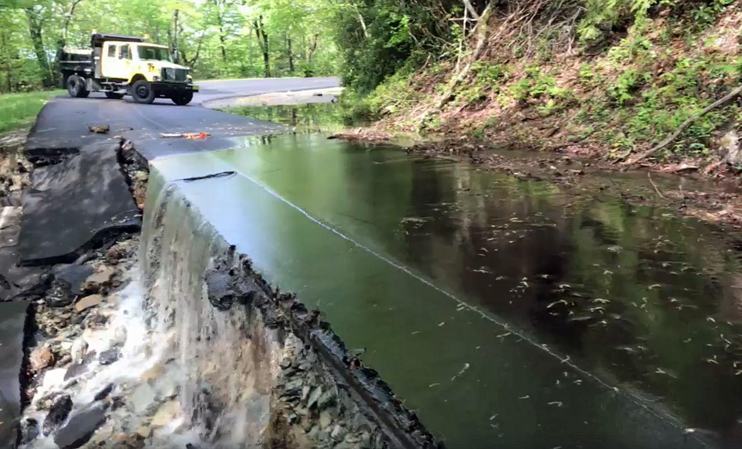 US 221 closed for rain damage repairs