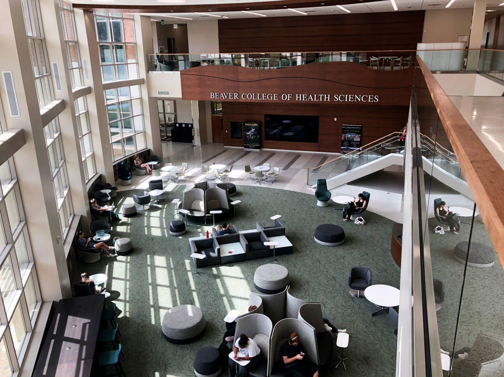 The new state of the art building for the Beaver College of Health Sciences has multiple spaces for students to wait for their class or get work done.