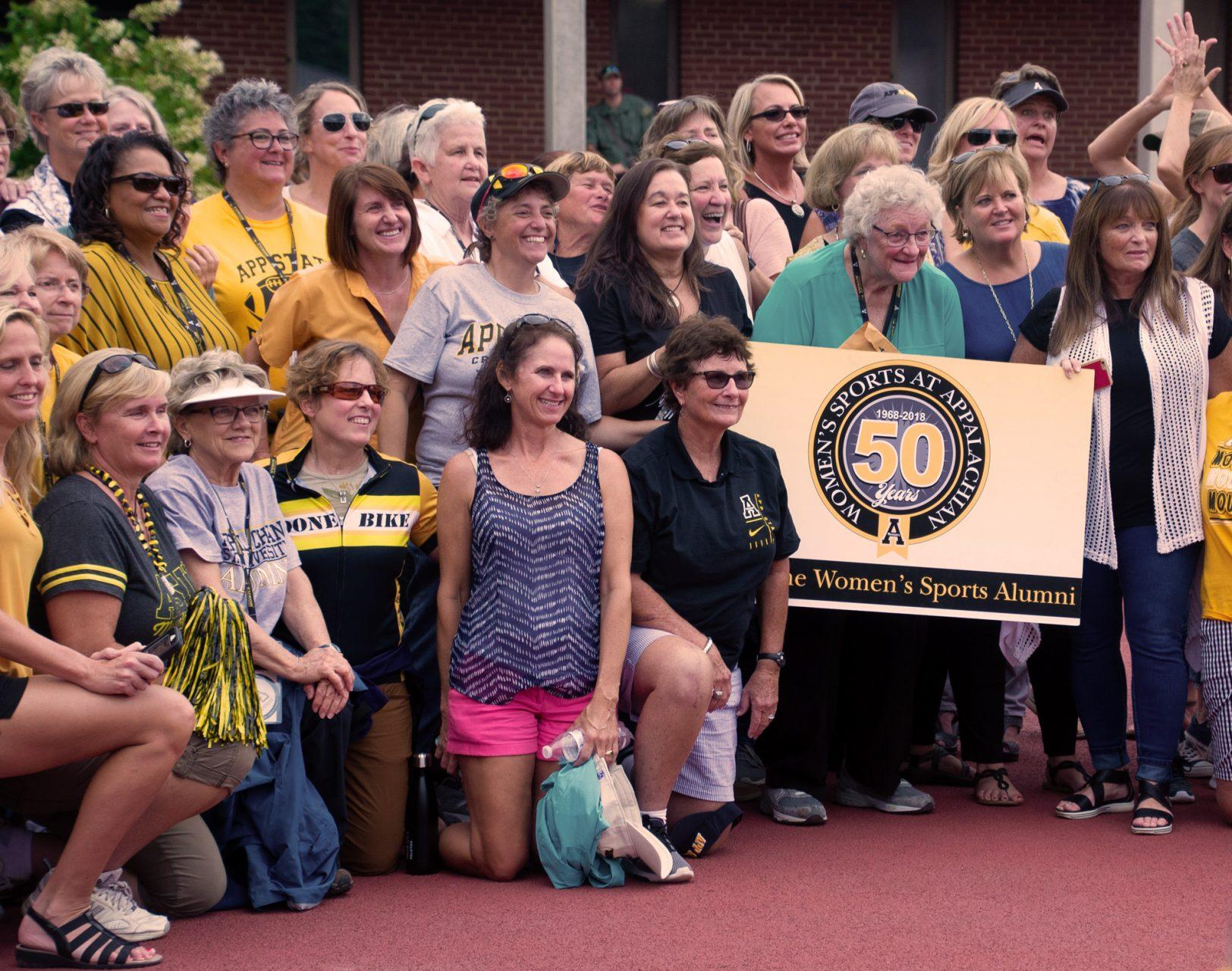 Former+female+athletes+are+celebrated+at+Saturday%27s+football+game+against+Gardner-Webb+in+honor+of+50+years+of+women%27s+sports+at+App+State.