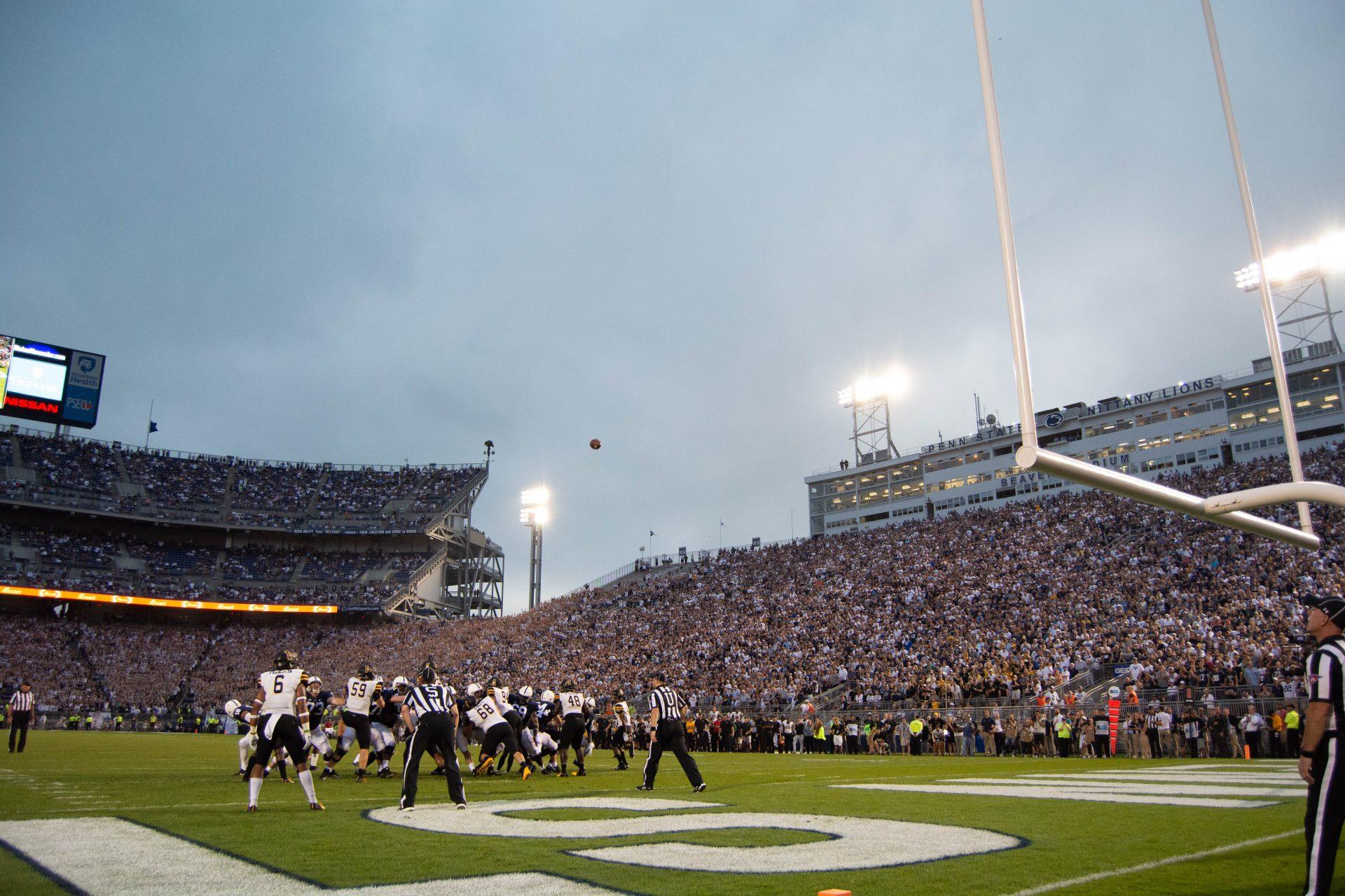 Penn State attempts an extra point against the Mountaineers. App State lost to the Nittany Lions 45-38.