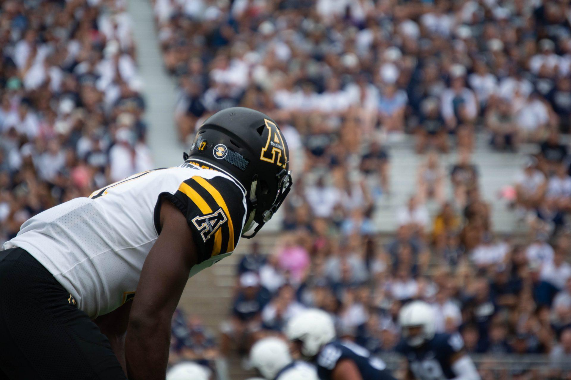Senior cornerback Tae Hayes gets ready for the next play against Penn State. App State lost to the Nittany Lions 45-38.