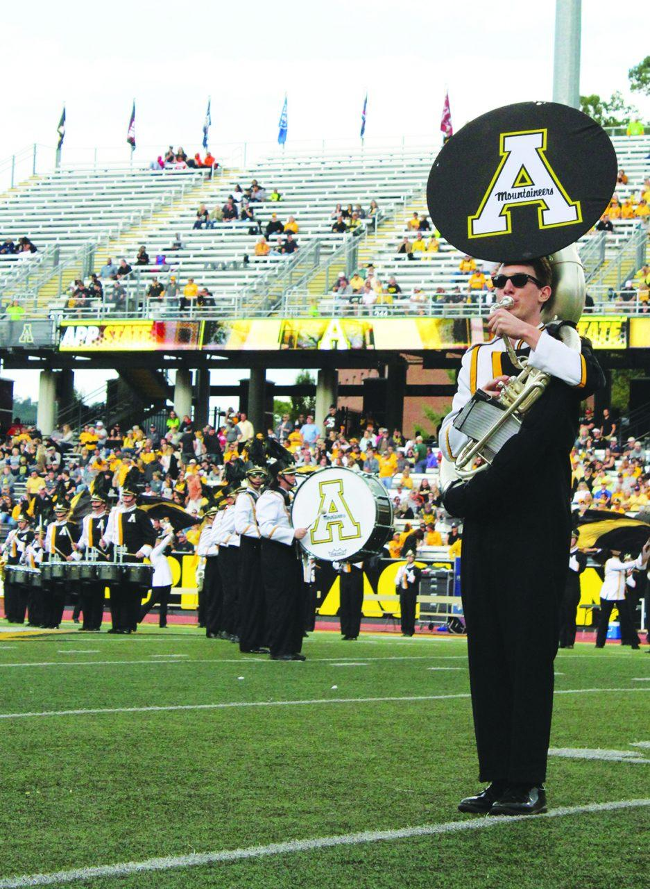 The Marching Moutaineers preforming their half time show inspired by the band Earth, Wind, and Fire.
