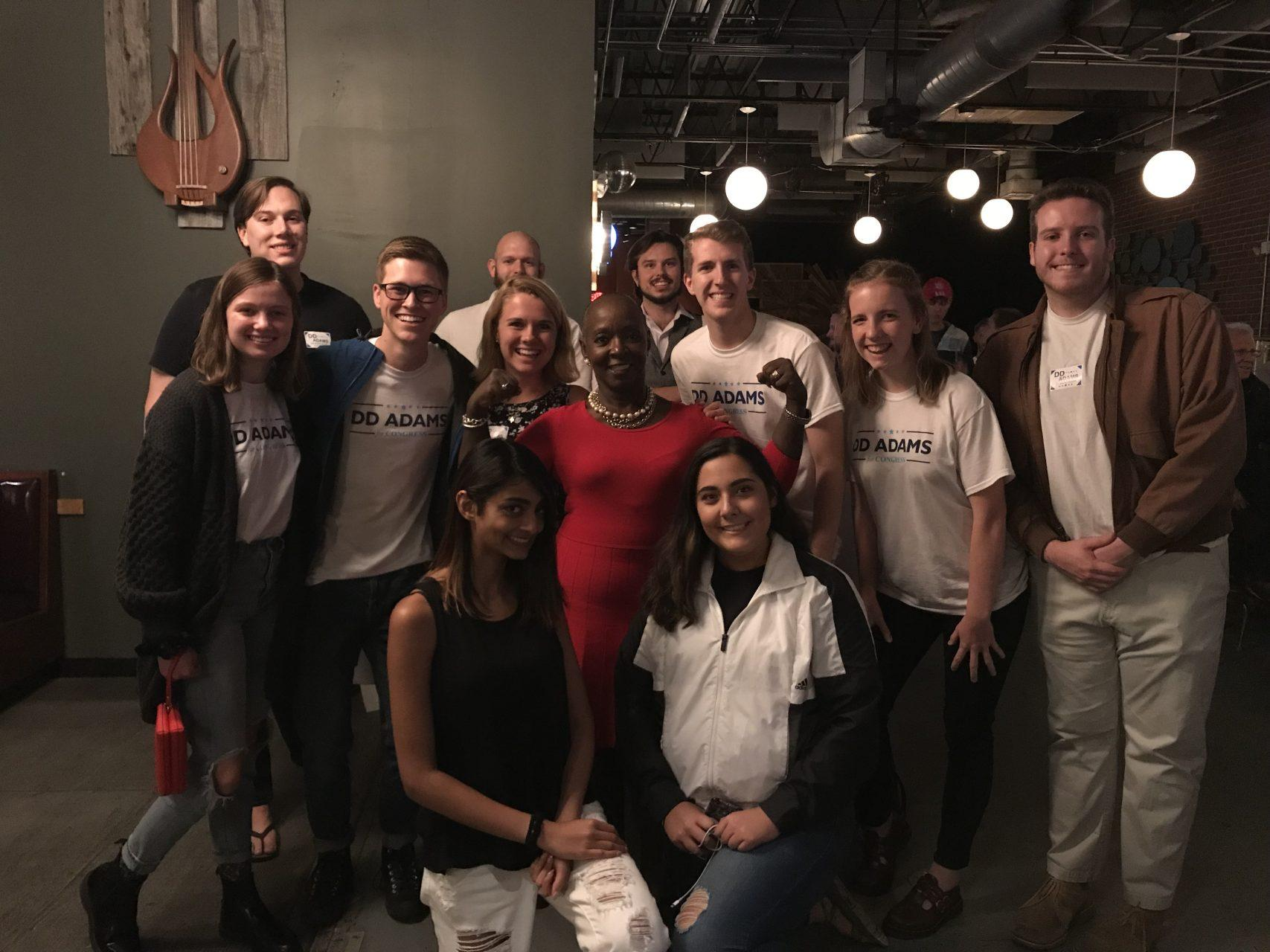 DD Adams poses with students from App State, some serving as interns for her campaign. Adams has been running for congress for 22 months.