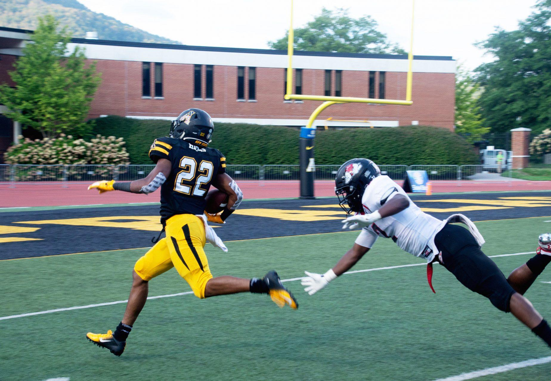 Redshirt freshman running back D'Andre Hicks breaks free for a 73-yard touchdown against Garnder-Webb.