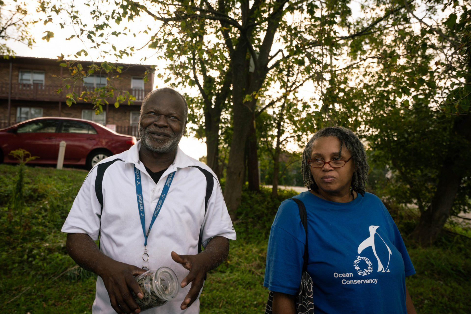 Johnell Hunter Sr., who runs the Bless the Children gardening program in Winston Salem, and his wife Deborah Hunter at the celebration. He taught a workshop Friday night on some of his organic practices and therapeutic herbs.